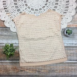 Madewell | Cream Tiered Lace Silk Top Top